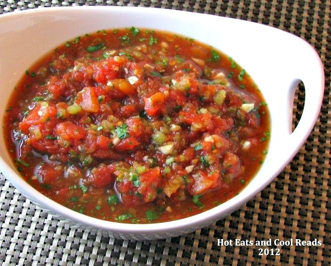 Homemade salsa with canned tomatoes. Great during the winter when fresh tomatoes are hard to come by.