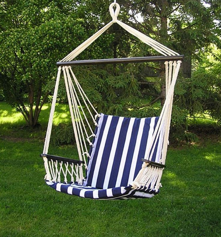 Hammock Chair for Bedroom Swing Indoor Patio Outdoor Blue and White Hanging  #BigDaddy