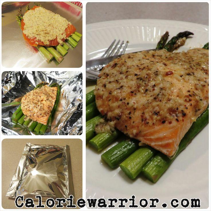 6 oz portion of Salmon 7 Asparagus spears 1 Tbsp whipped light butter 1 Tbsp grated parmesan cheese 1 clove garlic pressed 2 tsp of lemon ju...