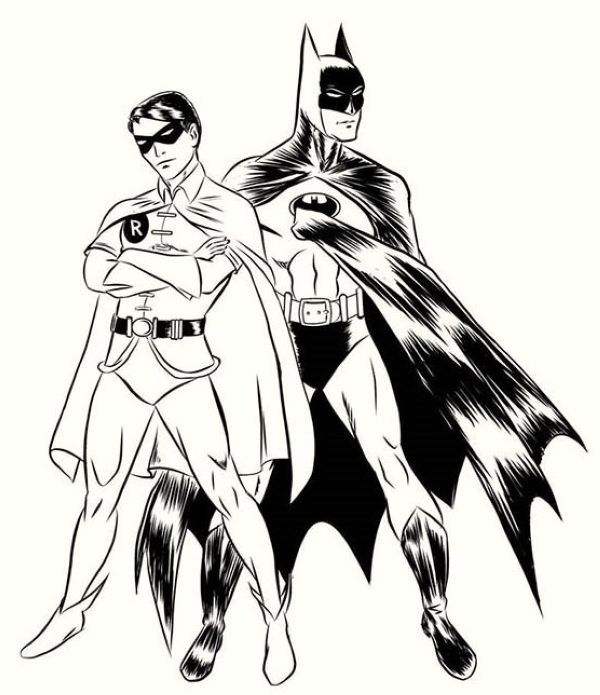 Batman And Robin Coloring Page For Kids Who Doesn T Know Batman Maybe All Dc Fans And Superhero Movie Fa In 2020 Batman Coloring Pages Coloring Pages For Kids Batman