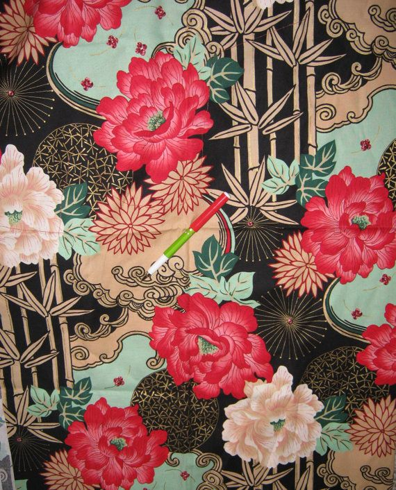 Asian Print  Fabric  cotton   yard Alexander Henry sold  per  1/2 yard