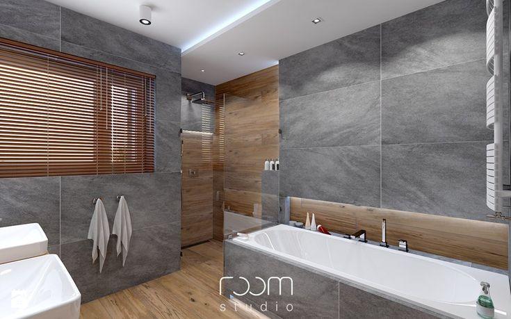 Łazienka szara z drewnem - Średnia łazienka w domu jednorodzinnym jako salon kąpielowy z oknem, styl nowoczesny - zdjęcie od ROOM STUDIO