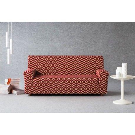 Funda de sofá elástica Naima. Ayuda al mantenimiento de tu sofá con las fundas elásticas Naima de la casa Zebra textil. Diseño vintage de rombos estilo de años 70. Composición tejido 60% poliéster - 38% algodón - 2 poliéster que permite un fácil mantenimiento en tu lavadora doméstica. Disponible en 3 colores diferentes rojo, beig y gris. 1 Plaza: 70/ cm 2 Plazas: 130/ 170cm 3 Plazas: 170/ 170cm  Maxi:    210/ 240cm