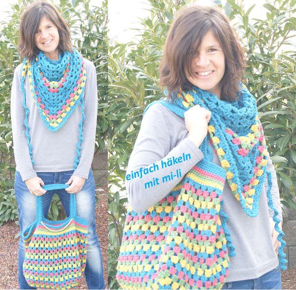 Dieses Set aus Tasche und Dreieckstuch zieht mit seinem tollen Muster in deinen Lieblingsfarben alle Blicke auf sich und ist ein unverzichtbarer Begleiter besonders passend für Frühlings- und Sommertage ... Um Bag und Tuch zu häkeln, braucht man nur 3