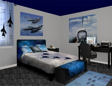 Pin by on vision wall murals pinterest for Airplane bedroom ideas