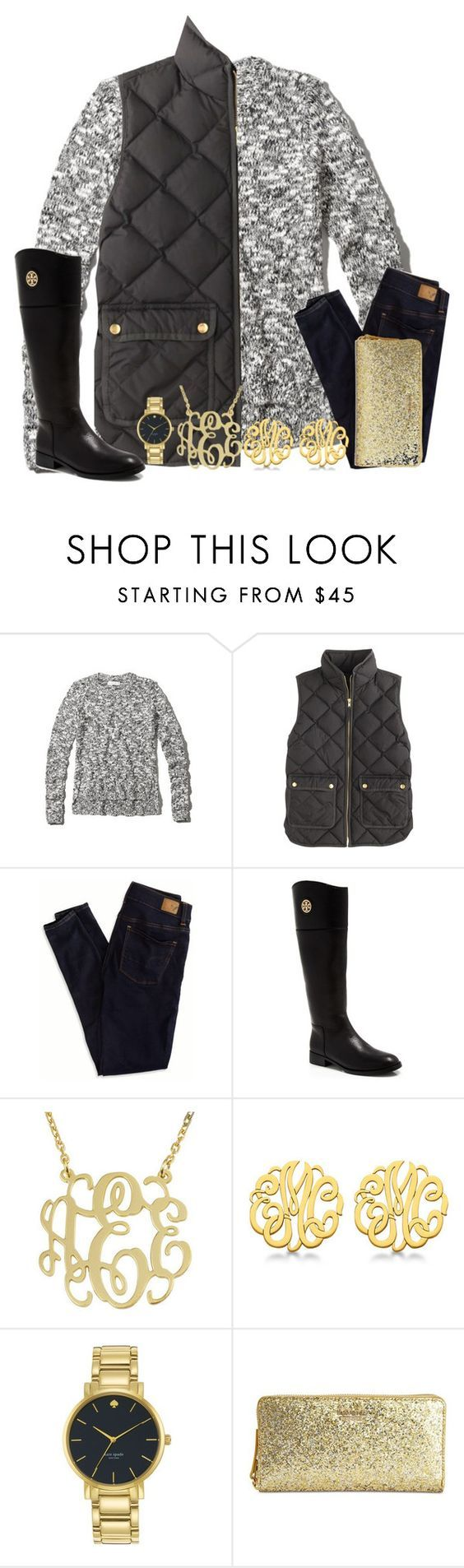 """""""Mono is the best gram"""" by carolinaprep137 ❤ liked on Polyvore featuring Abercrombie & Fitch, J.Crew, American Eagle Outfitters, Tory Burch, Allurez and Kate Spade"""