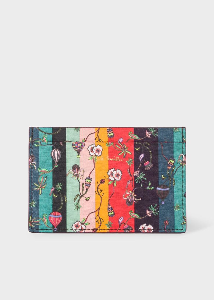 PAUL SMITH Men's Leather 'Balloon Floral' Print Credit Card Holder. #paulsmith #