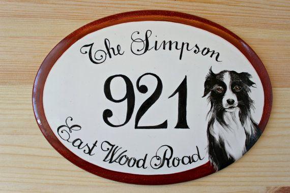 Targhetta indirizzo in porcellana, per porte o esterni, dipinta a mano. Personalizzabile.