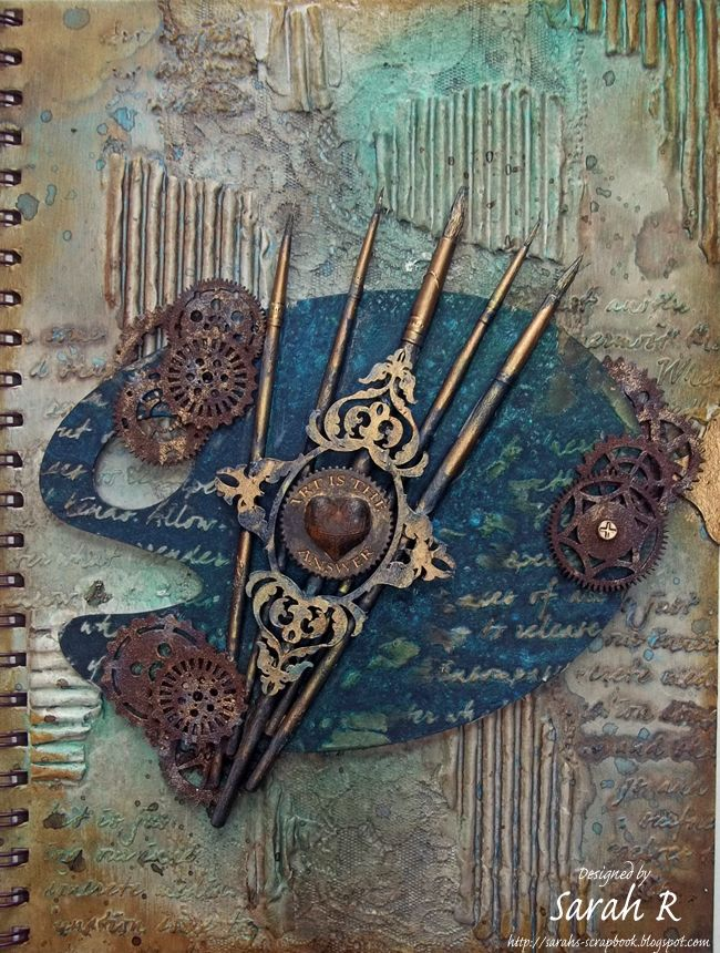 """Scattered Pictures and Memories: """"Art is the Answer"""" - Grungy, Mixed Media Art Journal Cover ~ Creative Embellishments"""