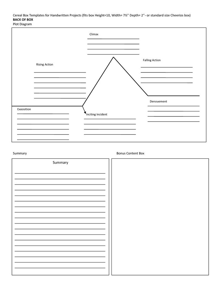 Cereal Box Book Report Template  Cereal Box Templates For Handwri