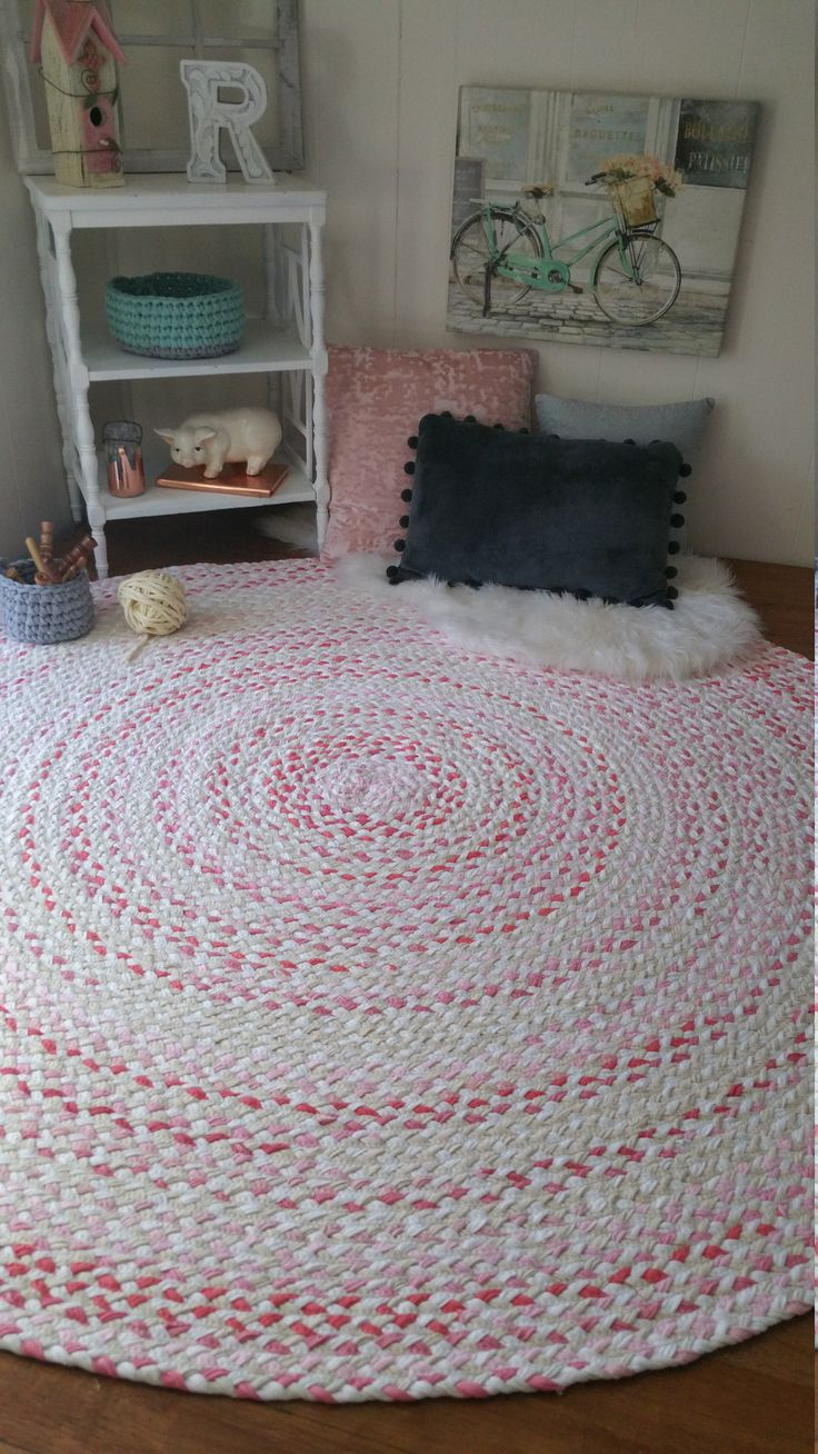 Rose Gold Braided Rug, With White And Natural Blend Of Color Shabby Chic  Style