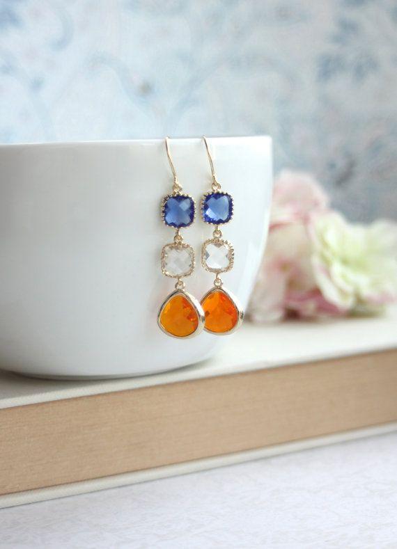 Naranja, mandarina, azul cobalto, vidrio claro pendientes. Cristal verano…