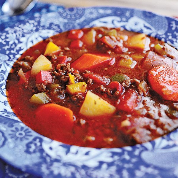 Hamburger soup from the Pioneer Woman. I've made something similar and seem to forget to make it again!