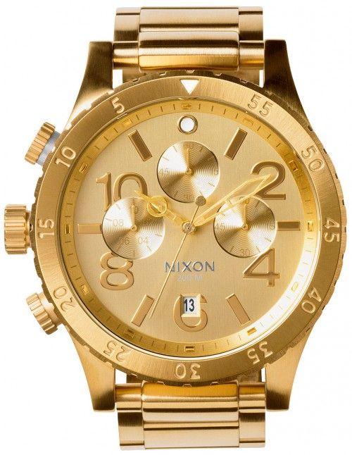 Nixon 48-20 Chrono All Gold A486-502 - Dameklokker - Denne klokken er produsert av amerikanske Nixon, kjent for unik og robust design har de tatt markedet med storm de siste årene. Her får du designerklokker i topp kvalitet som virkelig skiller seg ut!