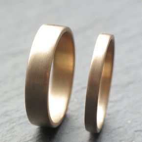9ct Yellow Gold Wedding Band Set Two Wedding Rings 2mm by OddPower, £300.00
