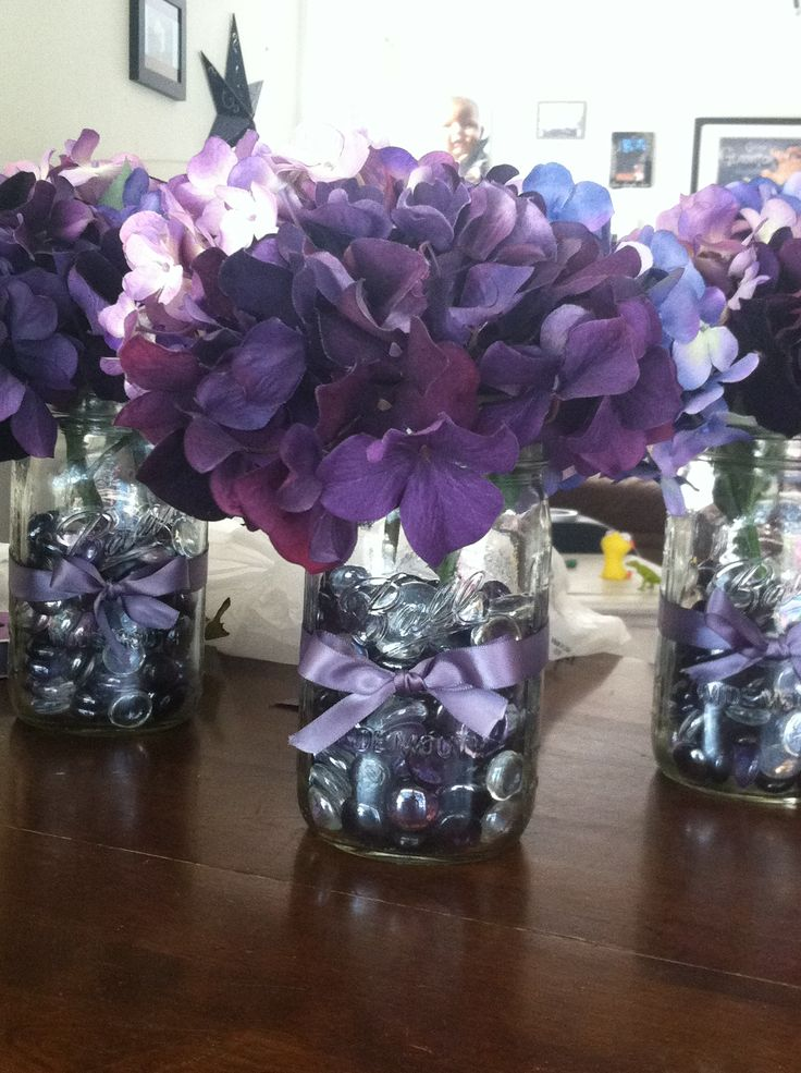 Diy purple wedding decor masonjar hydrangea ribbon for Wedding decorations centerpieces
