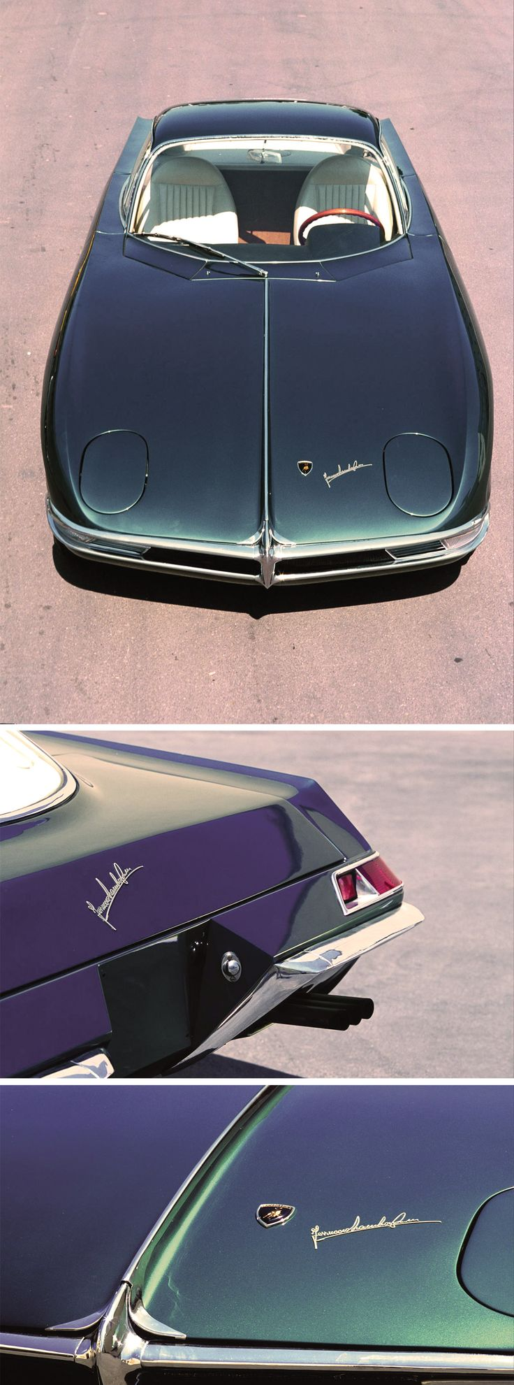 Lamborghini 350 GTV (1963) - Design by Scaglione, Ferruccio Lamborghini signature. The very first Lamborghini ever made. RWD 3.5 L. V12, 342 bhp, top speed 280 km/h. Only one unit in the world. Priceless, timeless, ancestor of a noble legacy.