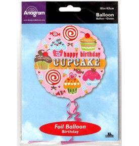 "Happy Birthday Cupcake Foil Balloon - 18"""