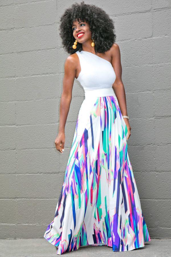 One Shoulder Tank + Printed High Waist Skirt Style Pantry waysify