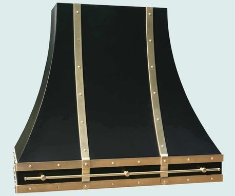 Custom Made Black Range Hood With Brass Straps & Pot Rail