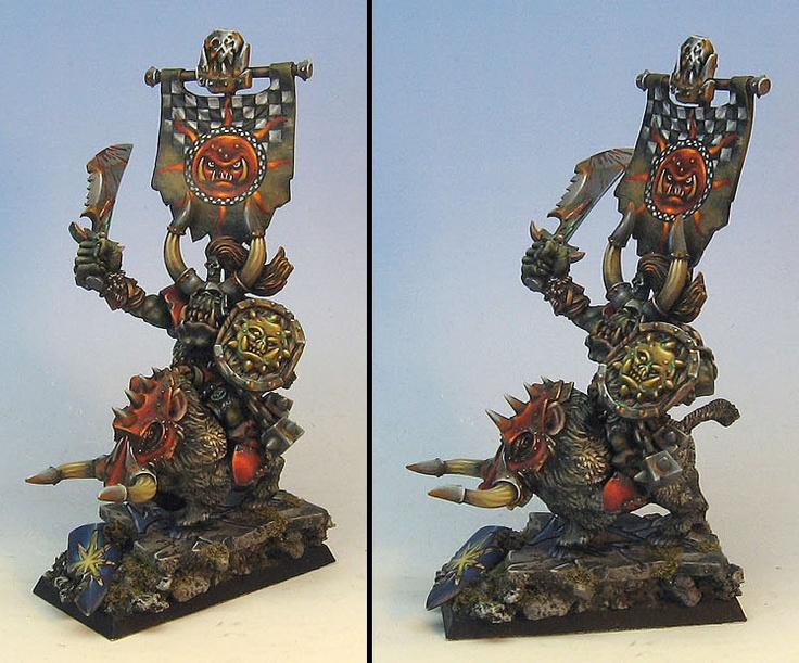 Warhammer Fantasy: Bloody Sunz Orc on his Warboar mount