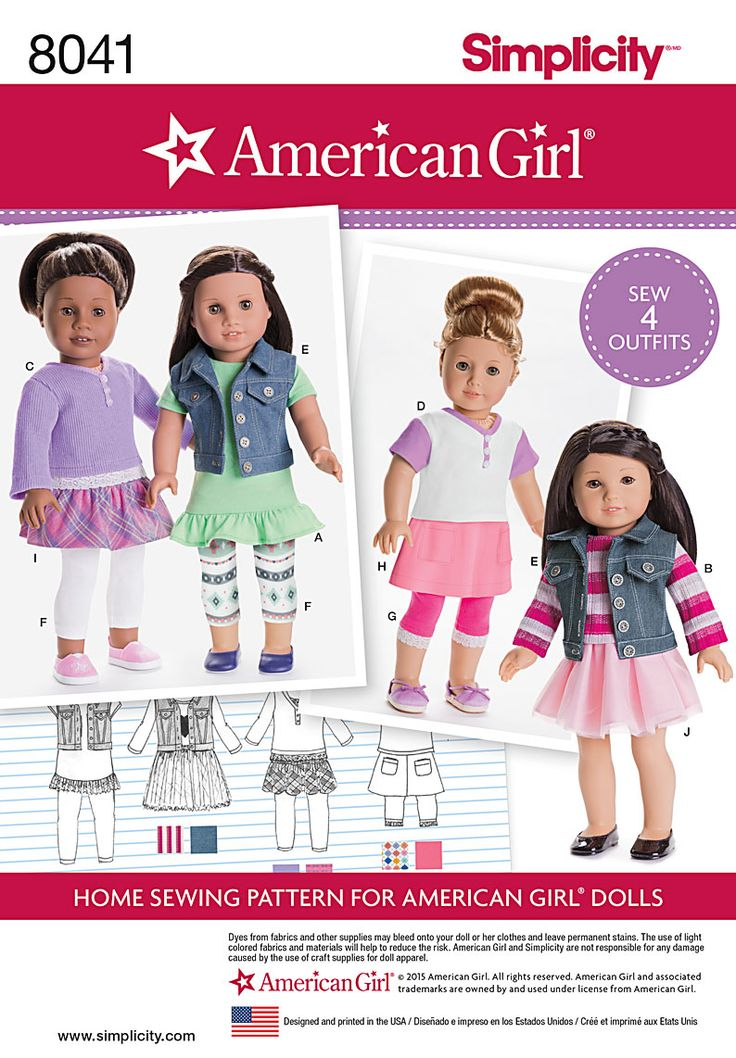 Simplicity Sewing Pattern 8041 American Girl Doll Clothes Outfits Leggings Skirt Jacket Top Dress AG Dolls By SewLizziPatterns On Etsy