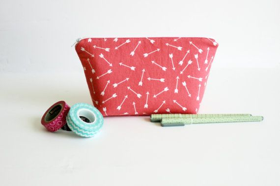 Coral Arrow Large Pencil Case for Planning  by NaptimeCrazeDesigns
