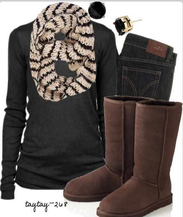 Simple Fall outfit  brown uggs  scarf  cute earrings | hair|nails|make*up|fashion | Pinterest ...