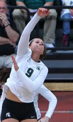 The Michigan State volleyball team held its annual Green & White intra-squad scrimmage on Saturday afternoon.  The White squad took two of the three sets.  Taylor Galloway pictured