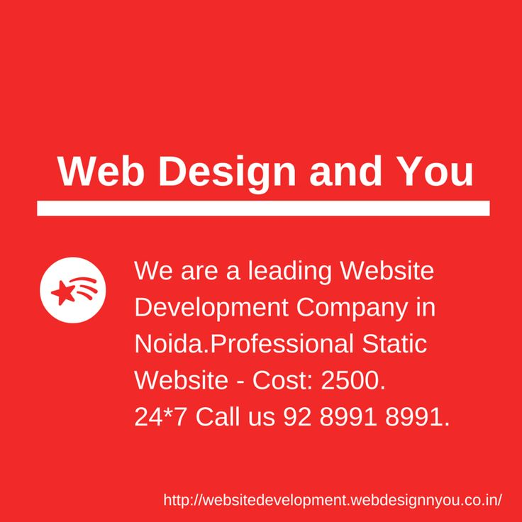 Web Design and You is a website development company in Noida. 24*7 Call us 92 8991 8991. http://websitedevelopment.webdesignnyou.co.in/