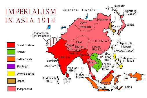 Map Of Imperialism In Asia For School Pinterest Asia - Us territorial influence 1914 map labeled