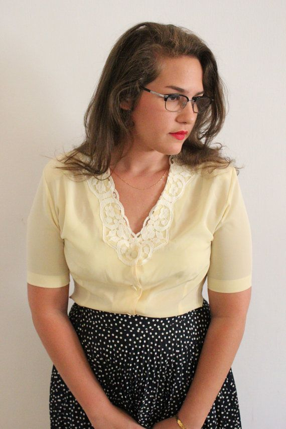 Yellow Blouse with Lace  CLEARANCE SALE by ClementinesBoutique, $15.00
