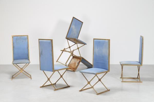 TURRI - Sei sedie in metallo dorato e tessuto, per Arredamenti Turri, anni 80. - Cm [...], Design - Vente Online à Capitolium Art   Auction.fr