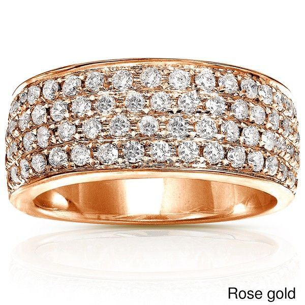 Huge 1 Carat Diamond Wedding Ring Band for Her in Rose Gold