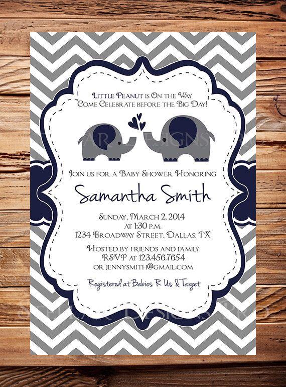 Momma and Baby Elephant Baby Shower Invitation, Baby Shower Elephant Invite, BOY, Gray, Navy, digital, 1398 by StellarDesignsPro on Etsy https://www.etsy.com/listing/233760584/momma-and-baby-elephant-baby-shower