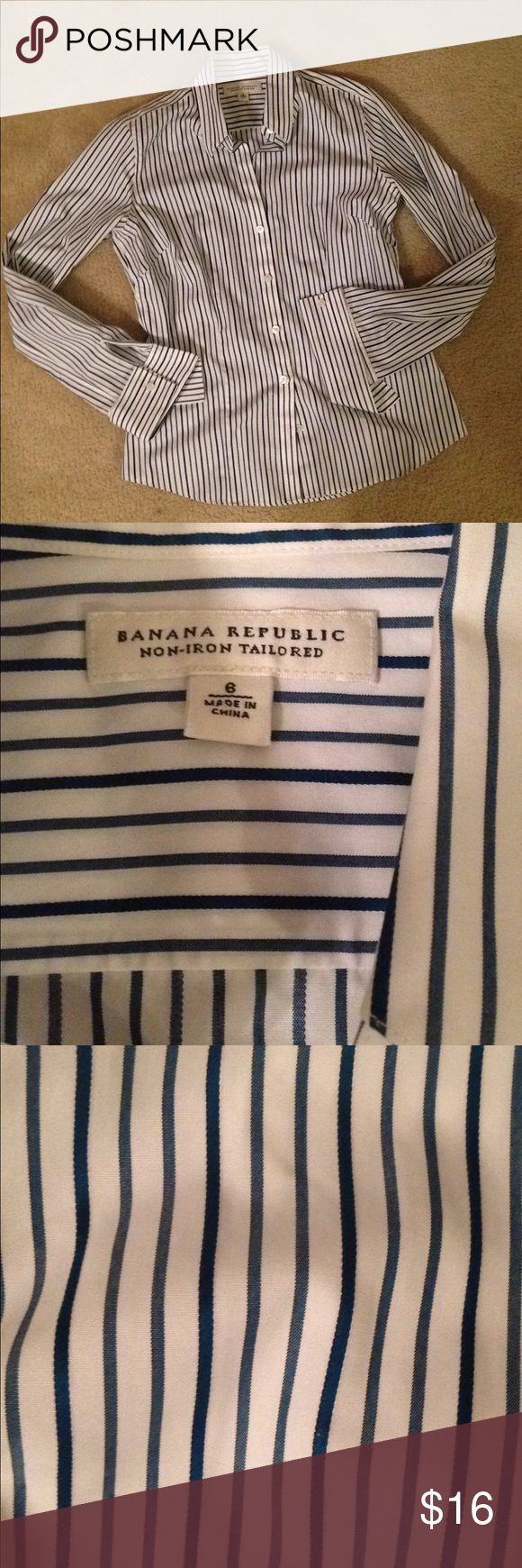 Banana Republic Non-Iron Tailored Shirt Size 6 In great condition. Fitted shirt. 100% Cotton. Second photo is to show color of the stripes. Minor coffee stain pictured in last photos. Offers welcome! Banana Republic Tops Button Down Shirts