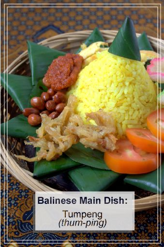 A traditional main course in Bali. A cone-shaped rice with a variety of vegetables and meat as side dishes.