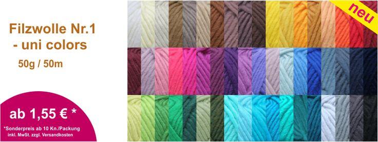Filzwolle Nr. 1 in vielen Farben in unserem Online Wollversand erhältlich. Besuchen Sie unsere Webseite - herzlichen Dank! :-)