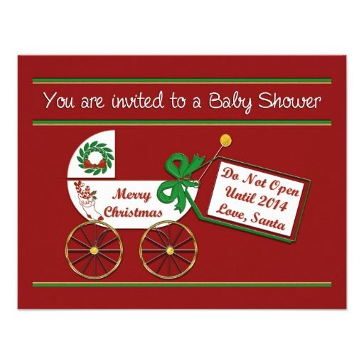 2014 Christmas Baby Shower Carriage, Bow Holiday Invitation For Baby Shower  When The Baby Is