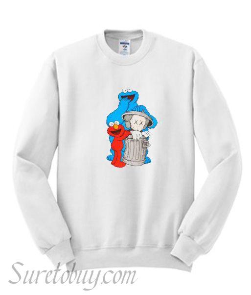 287572bf4 Uniqlo White Kaws X Sesame Street Graphic Sweatshirt in 2019 | Best ...