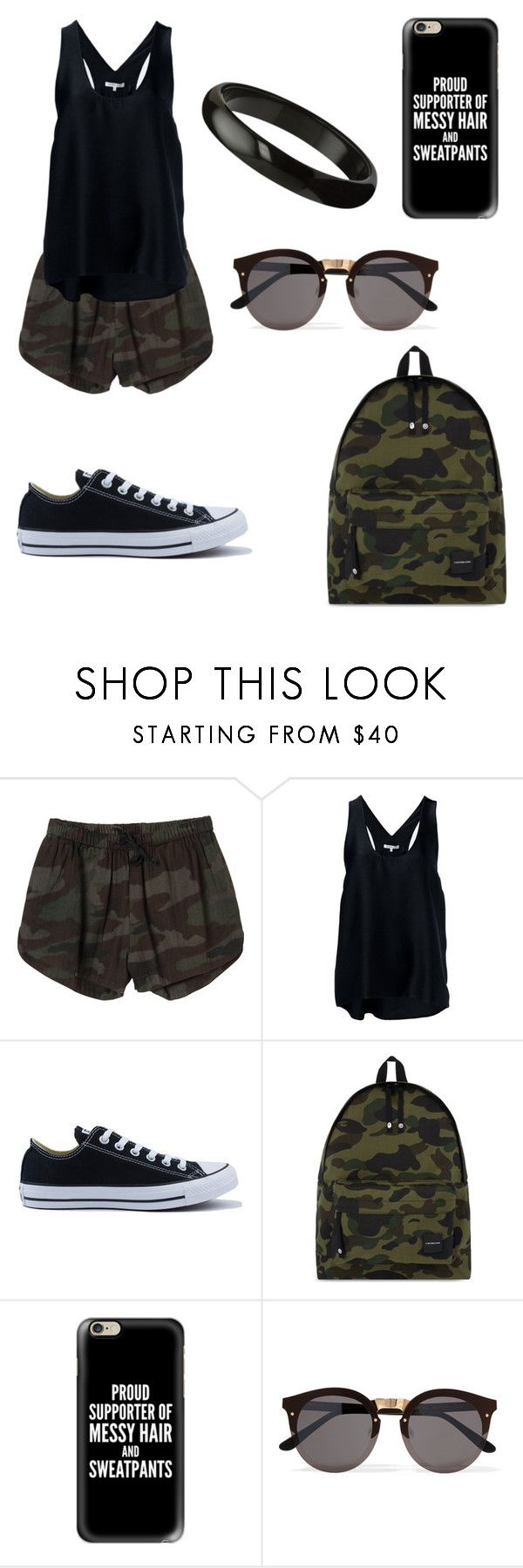"""""""black military"""" by oce-saurin ❤ liked on Polyvore featuring RVCA, Helmut Lang, Converse, A BATHING APE, Casetify and Illesteva"""