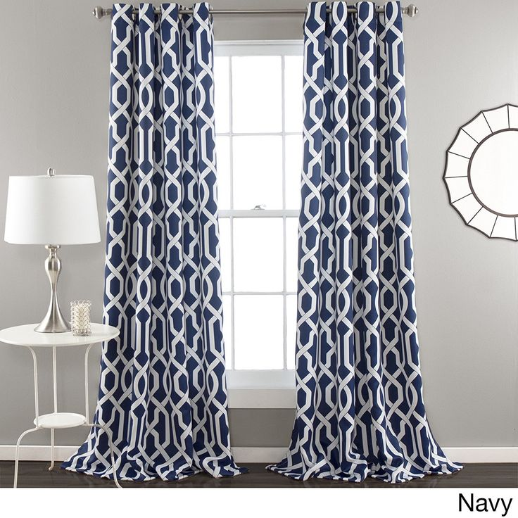 84 Inch Navy Blue White Moroccan Curtains Panel Pair Set