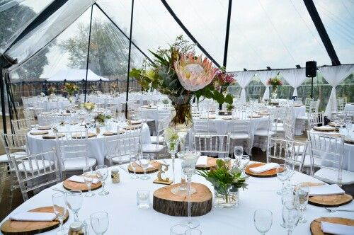 Clear tent decor