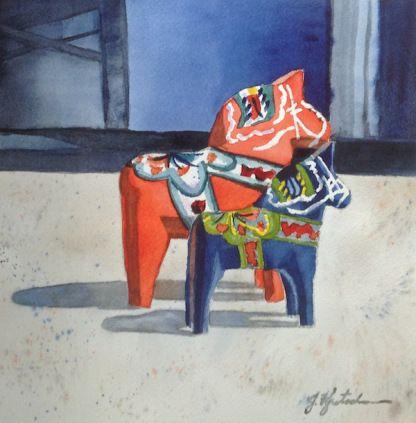 http://www.jkretschmer.com/pages/30in30.html Dala Horses, 8x8 Original Watercolor painting by Jennifer Kretschmer
