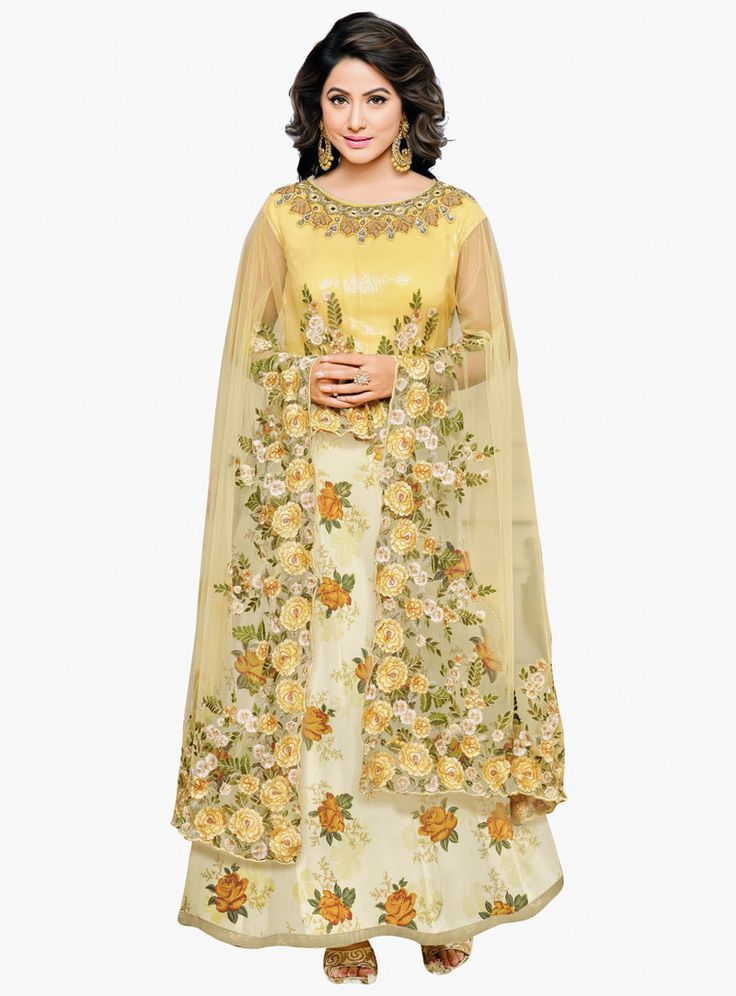 Hina Khan Yellow Georgette Ankle Length Anarkali Suit With Cape 87245