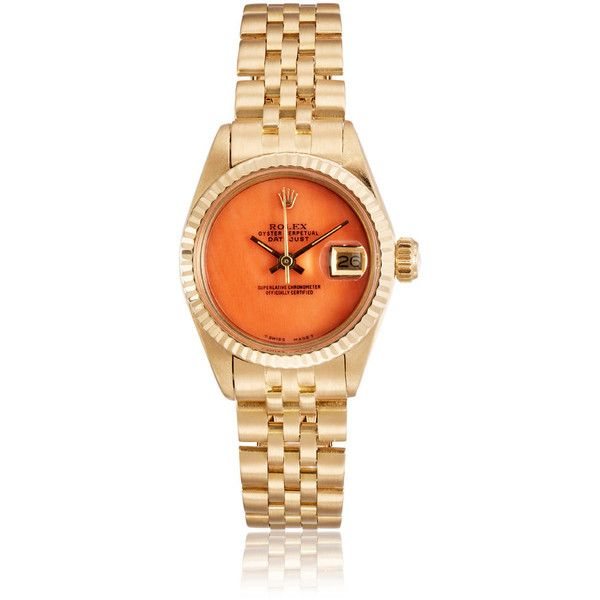 Vintage Watch Women's Vintage Oyster Perpetual Datejust Watch ($10,545) ❤ liked on Polyvore featuring jewelry, watches, orange, 18k jewelry, orange watches, vintage wrist watch, vintage jewelry and crown jewelry