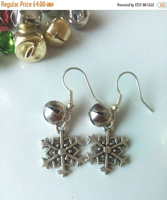 CIJ SALE Snowflake Bell Earrings, Christmas Earrings, Gift For Her, Snowflake Jewelry, Festive Earrings, Christmas Jewellery by VectorCoastUK on Etsy
