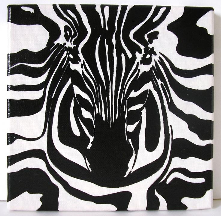 Tableau acrylique sur toile Zebre - 20x20 cm.