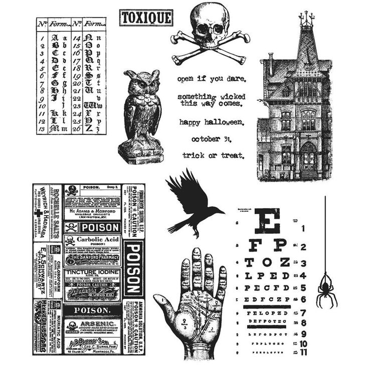 Mini Halloween #5 Cling Mount Stamps Tim Holtz Stampers Anonymous CMS275