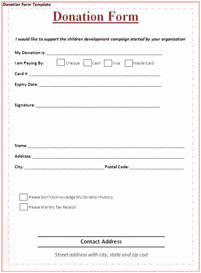 Free Pledge Card Template In 2020 Sponsorship Form Template